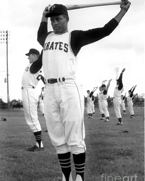 1950-1959 Poster featuring the photograph Roberto Clemente by National Baseball Hall Of Fame Library