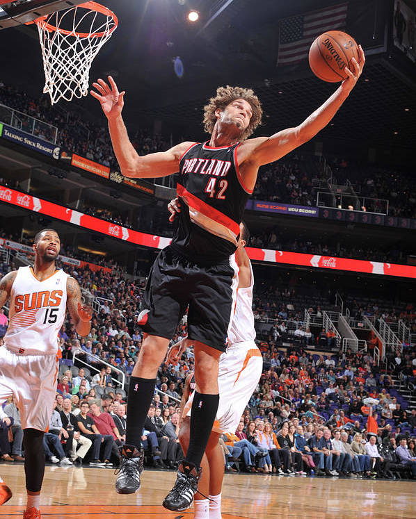 Nba Pro Basketball Poster featuring the photograph Robin Lopez by Barry Gossage