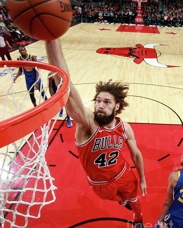 Nba Pro Basketball Poster featuring the photograph Robin Lopez by Jeff Haynes