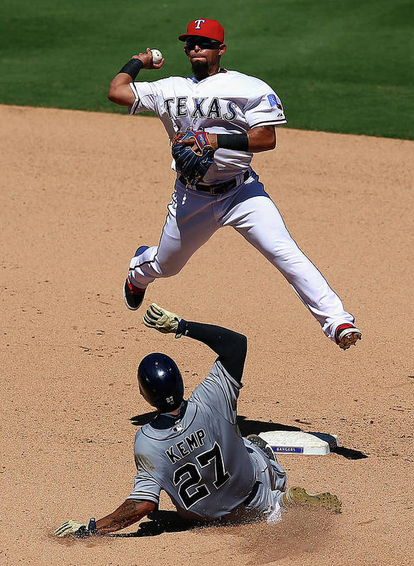 People Poster featuring the photograph Rougned Odor and Matt Kemp by Ronald Martinez