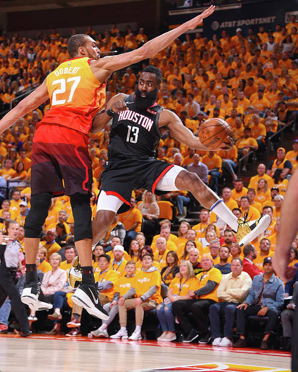 Playoffs Poster featuring the photograph Rudy Gobert and James Harden by Bill Baptist