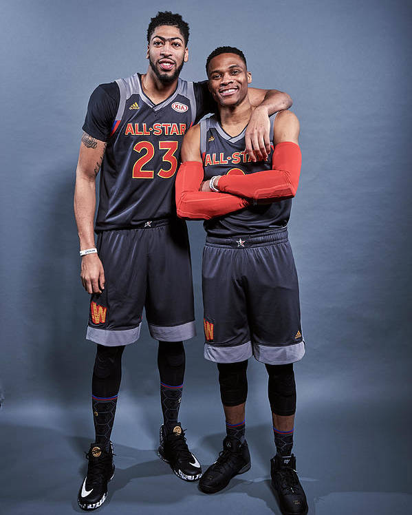 Event Poster featuring the photograph Russell Westbrook and Anthony Davis by Jennifer Pottheiser