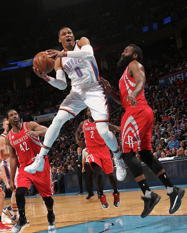 Nba Pro Basketball Poster featuring the photograph Russell Westbrook and James Harden by Layne Murdoch