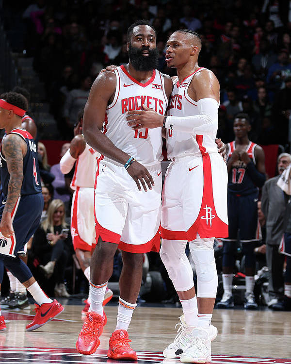 Nba Pro Basketball Poster featuring the photograph Russell Westbrook and James Harden by Stephen Gosling