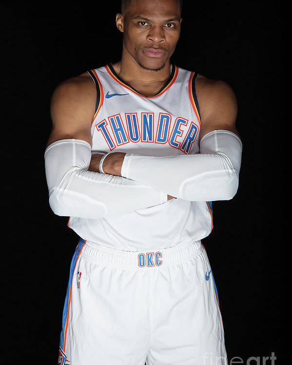 Media Day Poster featuring the photograph Russell Westbrook by Michael J. Lebrecht Ii