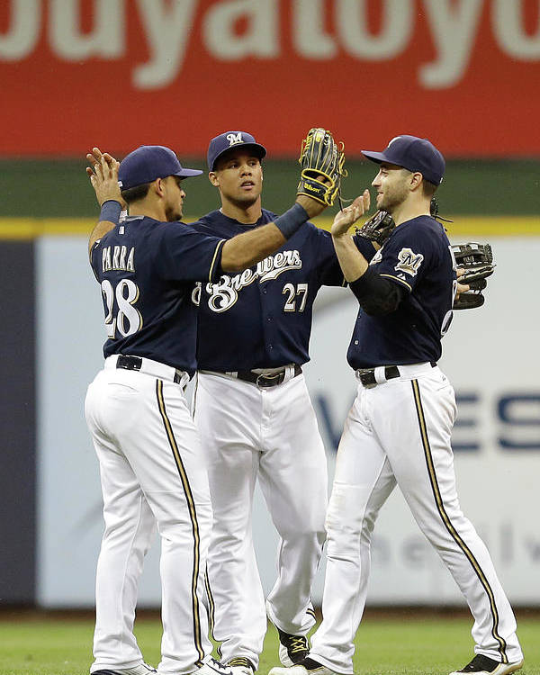 People Poster featuring the photograph Ryan Braun, Gerardo Parra, and Carlos Gomez by Mike Mcginnis