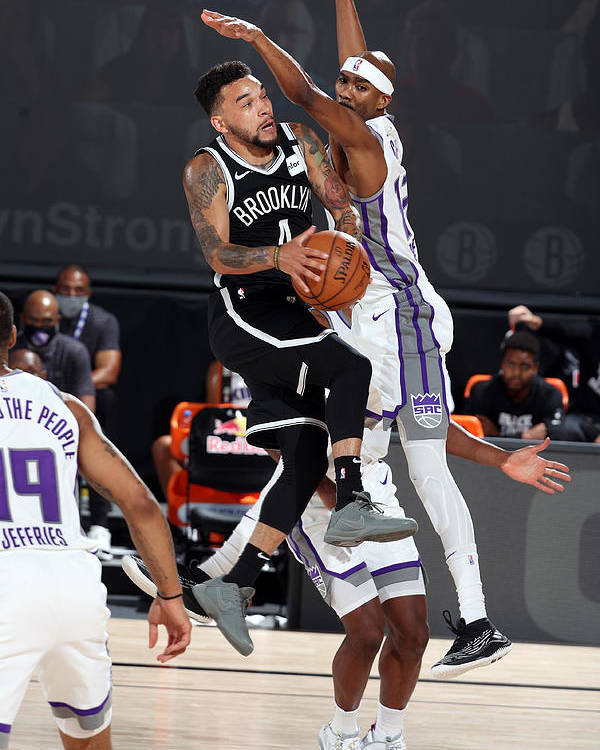 Nba Pro Basketball Poster featuring the photograph Sacramento Kings v Brooklyn Nets by David Sherman