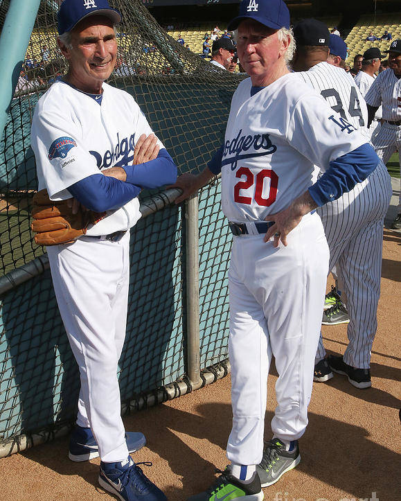 Sandy Koufax Poster featuring the photograph Sandy Koufax and Don Sutton by Stephen Dunn