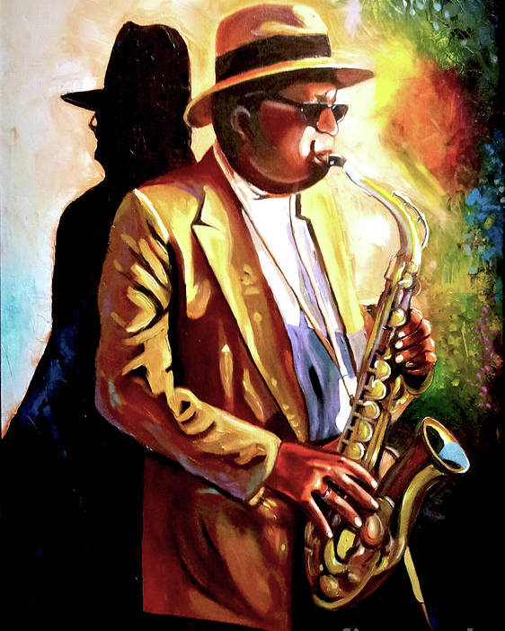 Sax Poster featuring the painting Sax Player by Jose Manuel Abraham