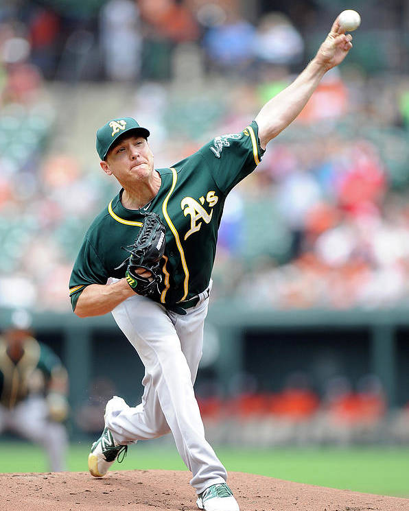 American League Baseball Poster featuring the photograph Scott Kazmir by Greg Fiume