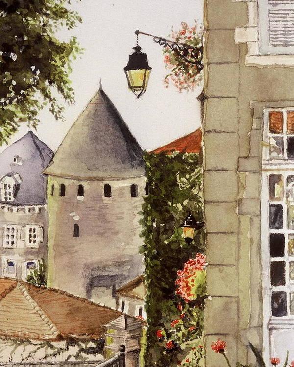 France Poster featuring the painting Semur en Auxois by Mary Ellen Mueller Legault