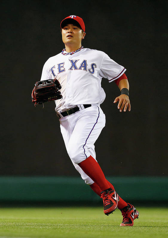 American League Baseball Poster featuring the photograph Shin-soo Choo by Tom Pennington