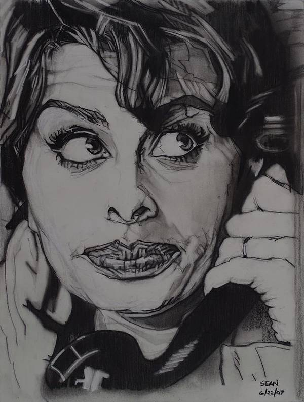 Charcoal On Paper Poster featuring the drawing Sophia Loren Telephones by Sean Connolly