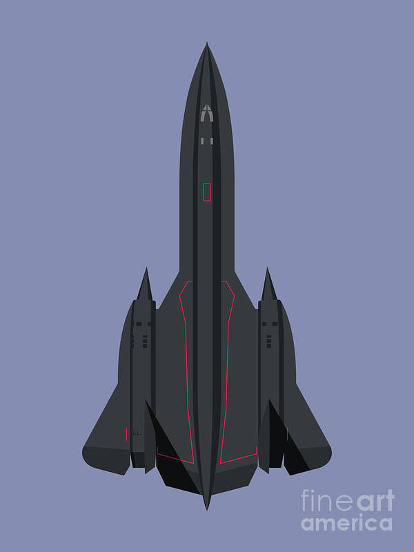 Aircraft Poster featuring the digital art SR-71 Blackbird Jet Aircraft - Twilight by Organic Synthesis