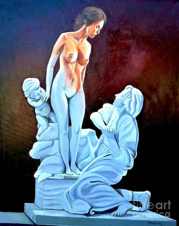 Women Poster featuring the painting Statue 2 by Jose Manuel Abraham