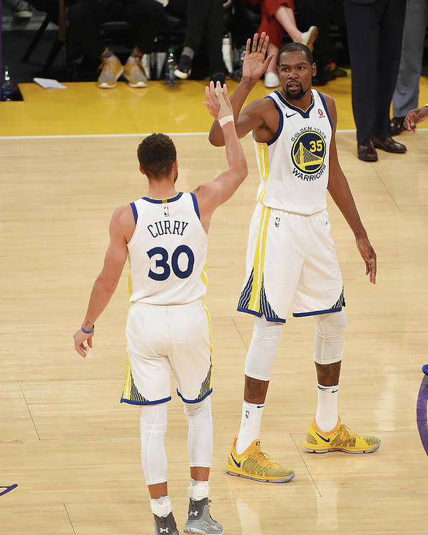Nba Pro Basketball Poster featuring the photograph Stephen Curry and Kevin Durant by Adam Pantozzi