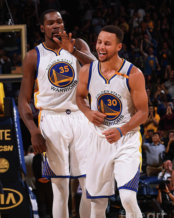 Nba Pro Basketball Poster featuring the photograph Stephen Curry and Kevin Durant by Noah Graham