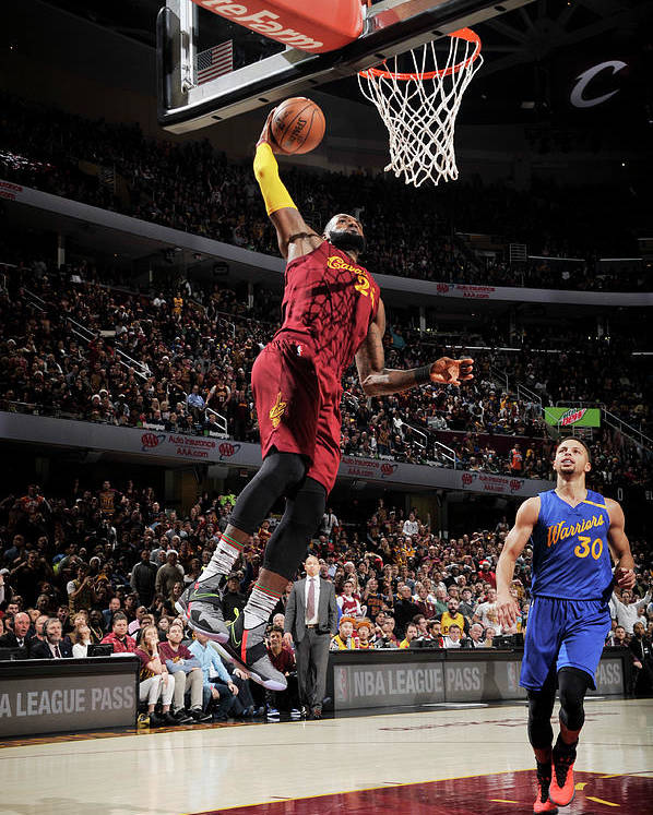 Nba Pro Basketball Poster featuring the photograph Stephen Curry and Lebron James by David Liam Kyle