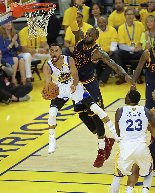 Playoffs Poster featuring the photograph Stephen Curry and Lebron James by Joe Murphy