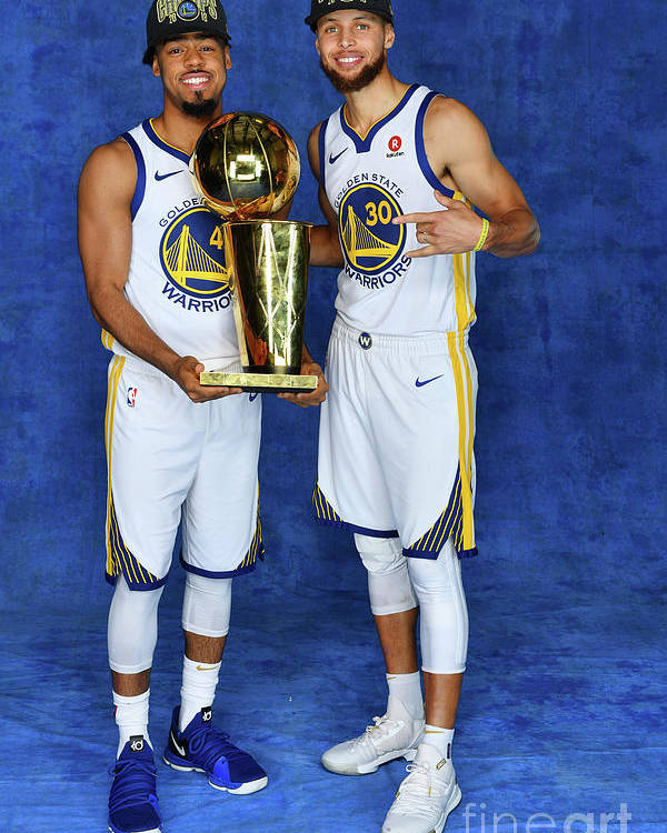 Playoffs Poster featuring the photograph Stephen Curry and Quinn Cook by Jesse D. Garrabrant
