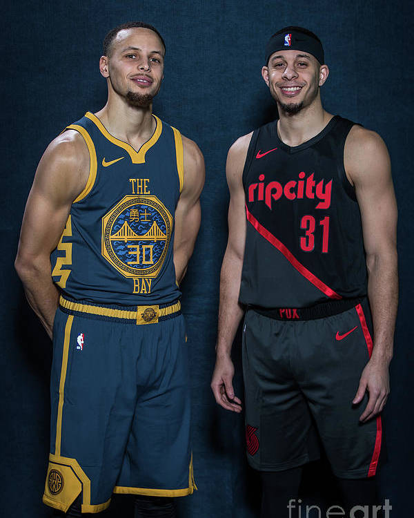 Nba Pro Basketball Poster featuring the photograph Stephen Curry and Seth Curry by Michael J. Lebrecht Ii