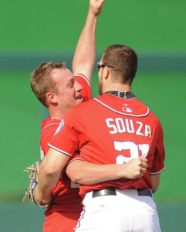 Celebration Poster featuring the photograph Steven Souza and Jordan Zimmermann by Mitchell Layton