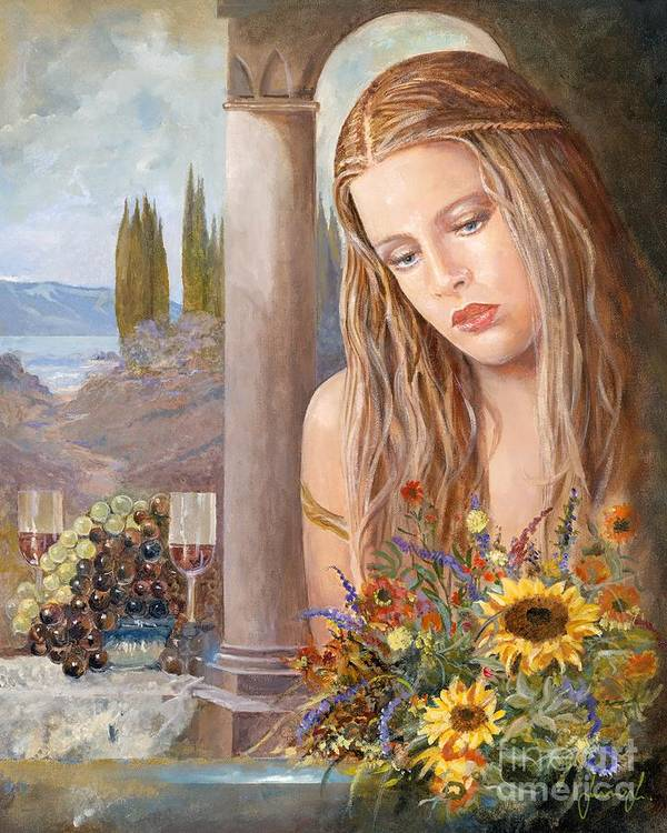 Portrait Poster featuring the painting Summer Day by Sinisa Saratlic