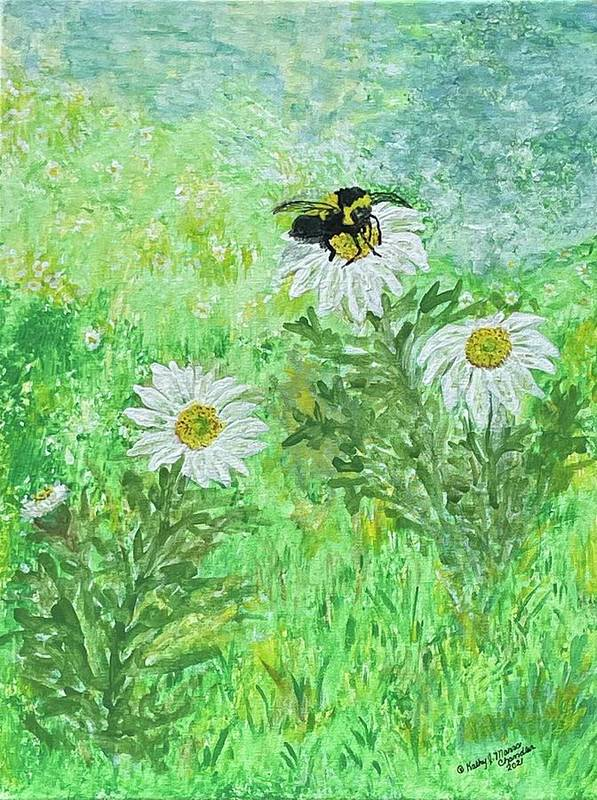 Bumble Bee Poster featuring the painting Summer Is Here by Kathy Marrs Chandler