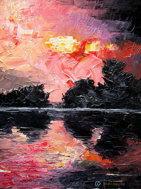 Lake After Storm Poster featuring the painting Sunset. After storm. by Sergey Bezhinets