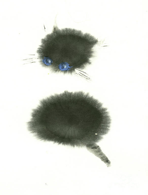 A Black Little Kitten Has A Big Surprise. This Is A Simple Contemporary Chinese Brush Painting On Rice Paper. Poster featuring the painting Surprised by Mui-Joo Wee