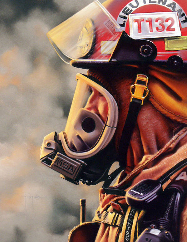 Fireman Poster featuring the pastel T-132 by Dianna Ponting