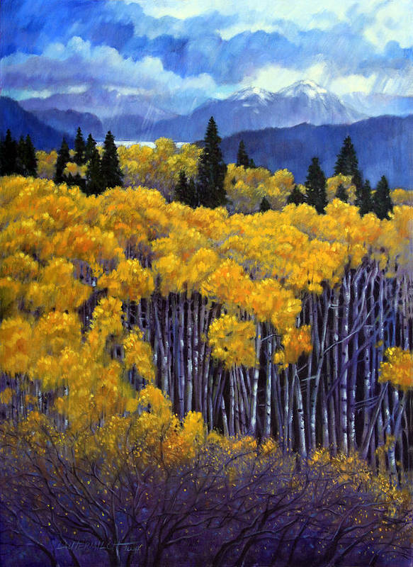 Snow Clouds Over Rocky Mountains Poster featuring the painting Tall Aspens by John Lautermilch