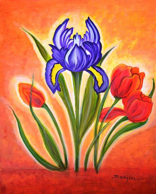 Flowers Poster featuring the painting The Bloom by Manjiri Kanvinde