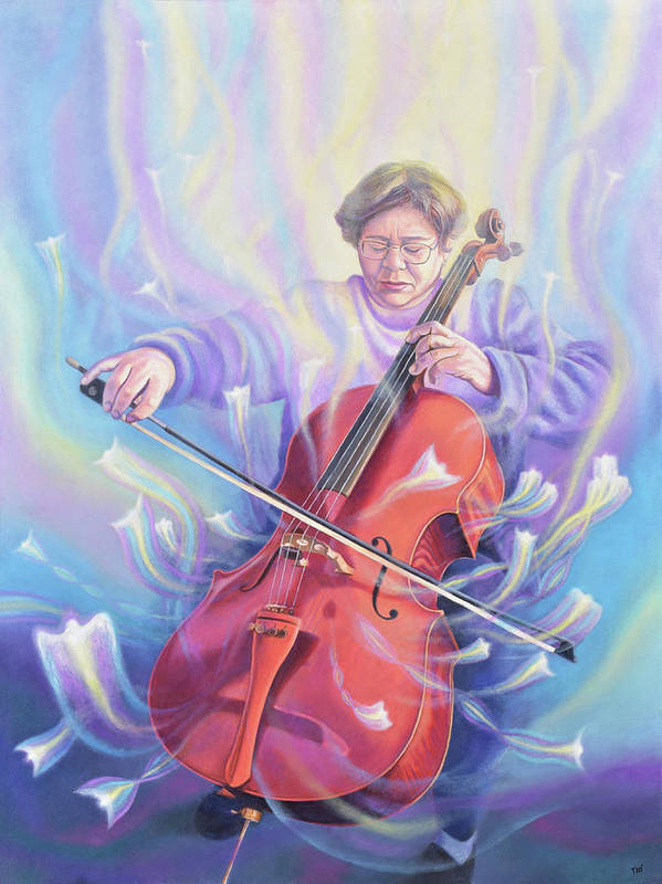 Music Poster featuring the painting The Cellist by Miguel Tio