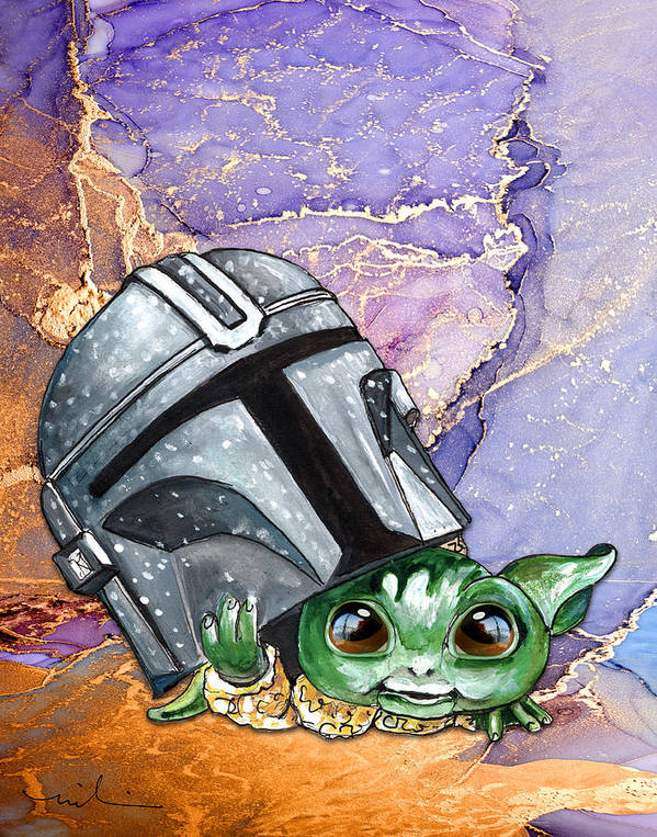 Watercolour Poster featuring the painting The Child Yoda 01 by Miki De Goodaboom