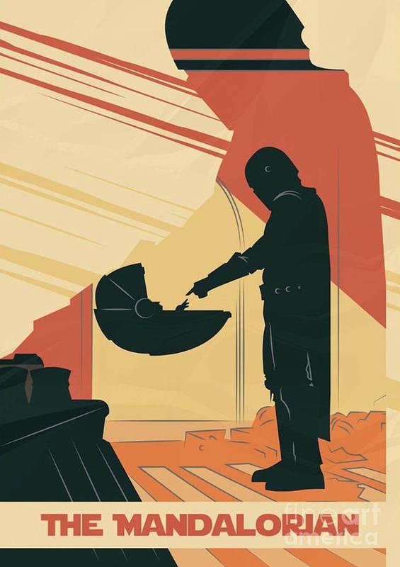 Star Wars Poster featuring the digital art The Mandalorian Baby Yoda by Trindira A