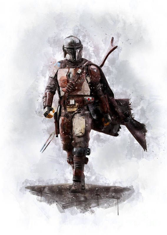Star Wars Poster featuring the painting The Mandalorian by Waldek Dabrowski