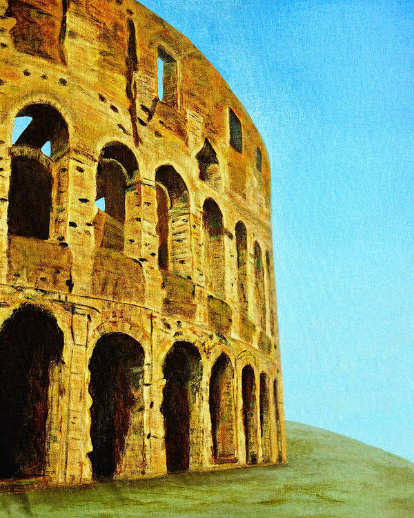 Colosseo Poster featuring the painting The Roman Colosseum by Donna Proctor