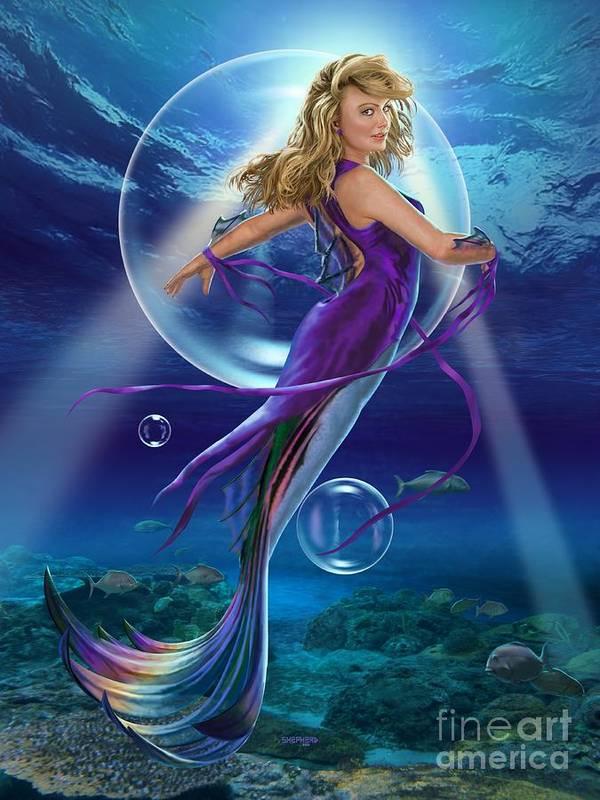 Mermaid Poster featuring the digital art The SeaDancer by Stu Shepherd