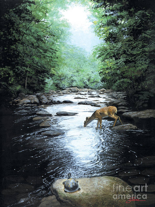 #wildlife Poster featuring the painting The Watercooler by Harold Shull