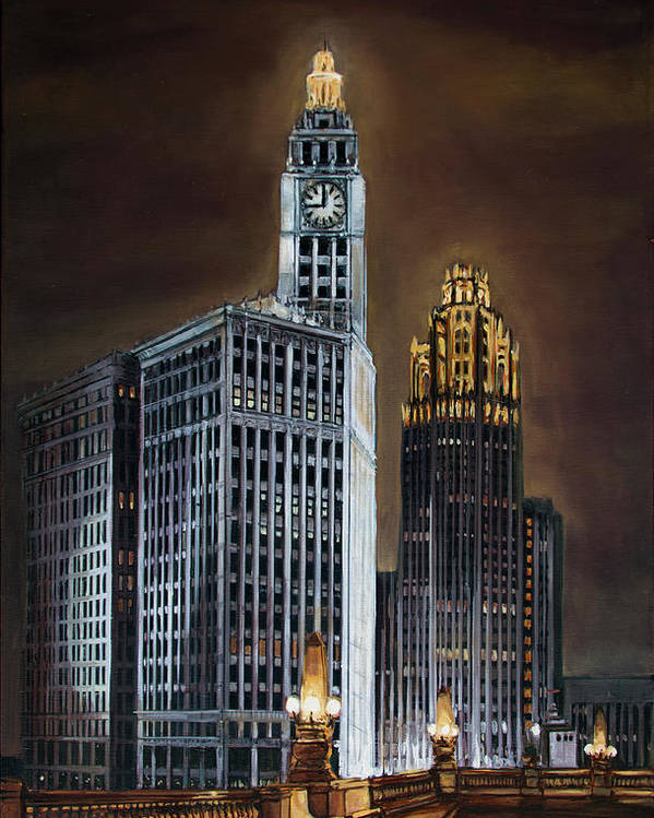 Chicago Poster featuring the painting The Wrigley Building and Tribune Tower by Christopher Buoscio