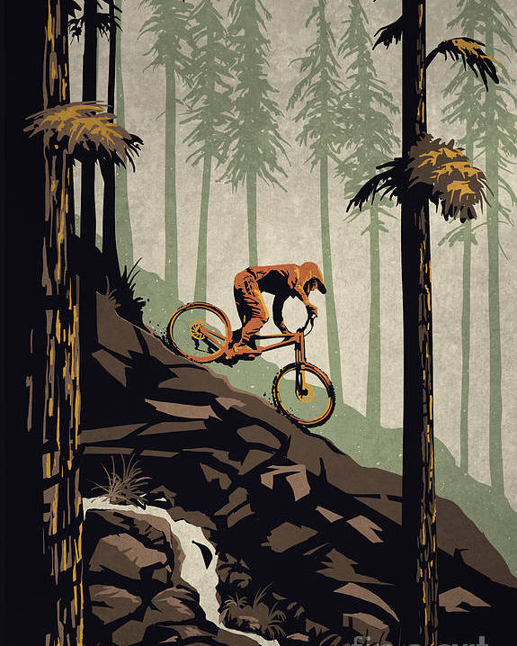 Mountain Bike Poster featuring the painting Think Outside No Box Required by Sassan Filsoof