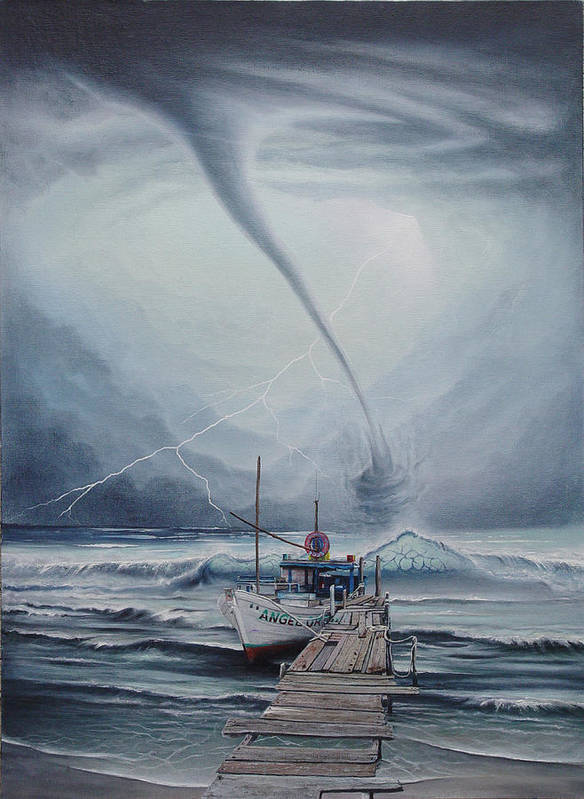 Seascape Poster featuring the painting Tifon   water sprout by Angel Ortiz