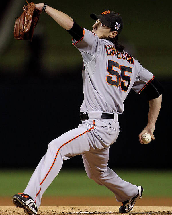 American League Baseball Poster featuring the photograph Tim Lincecum by Doug Pensinger