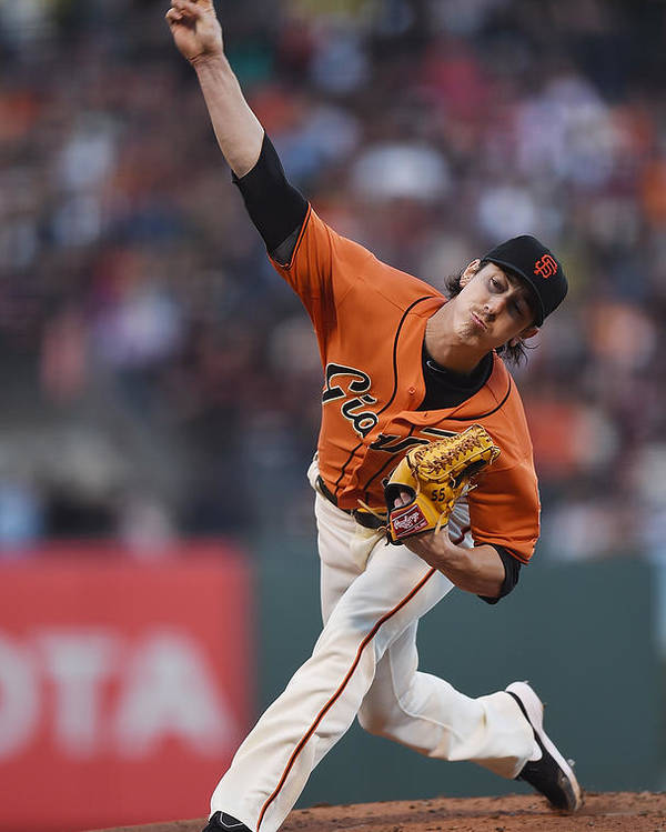 San Francisco Poster featuring the photograph Tim Lincecum by Thearon W. Henderson
