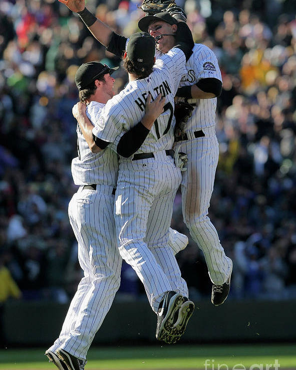 Celebration Poster featuring the photograph Todd Helton, Ian Stewart, and Troy Tulowitzki by Doug Pensinger