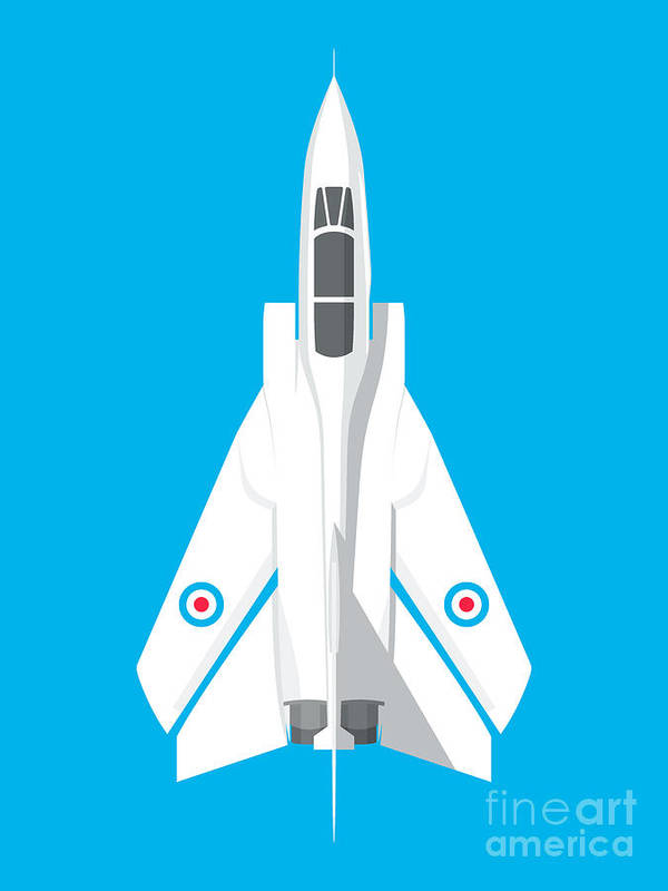 Aircraft Poster featuring the digital art Tornado Swing Wing Jet - Cyan by Organic Synthesis