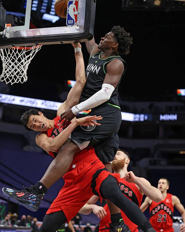 Nba Pro Basketball Poster featuring the photograph Toronto Raptors v Minnesota Timberwolves by Jordan Johnson