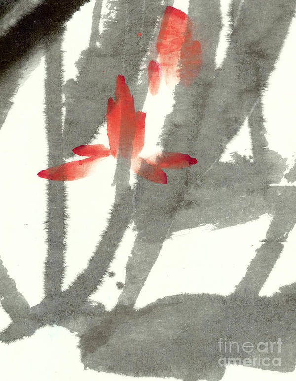 The Translucent Lotus Flowers Float Among Soft Swaying Leaves. This Is A Contemporary Chinese Ink And Watercolor On Rice Paper Painting. Poster featuring the painting Translucent by Mui-Joo Wee