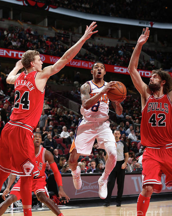 Chicago Bulls Poster featuring the photograph Tyler Ulis, Lauri Markkanen, and Robin Lopez by Gary Dineen